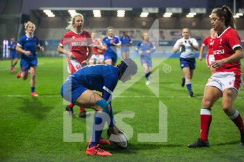 03/04/2021 - Caroline Boujard of France scores a try during the 2021 Women's Six Nations, rugby union match between France and Wales on April 3, 2021 at La Rabine stadium in Vannes, France - Photo Damien Kilani / DK Prod / DPPI - SEI NAZIONI FEMMINILE 2021 - FRANCIA VS GALLES - 6 NAZIONI - RUGBY