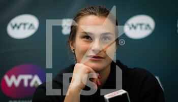 22/10/2020 - Aryna Sabalenka of Belarus talks to the media after reaching the quarter-final at the 2020 J&T Banka Ostrava Open WTA Premier tennis tournament on October 22, 2020 in Ostrava, Czech Republic - Photo Rob Prange / Spain DPPI / DPPI - SECOND ROUND OF 2020 J&T BANKA OSTRAVA OPEN WTA PREMIER - THURSDAY - INTERNAZIONALI - TENNIS