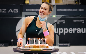 14/11/2020 - Aryna Sabalenka of Belarus receives a cake after entering the Top 10 by winning against Barbora Krejcikova of the Czech Republic the semi-final of the 2020 Upper Austria Ladies Linz WTA International tennis tournament on November 14, 2020 at TipsArena Linz in Linz, Austria - Photo Rob Prange / Spain DPPI / DPPI - 2020 UPPER AUSTRIA LADIES LINZ WTA INTERNATIONAL TOURNAMENT - SATURDAY - INTERNAZIONALI - TENNIS